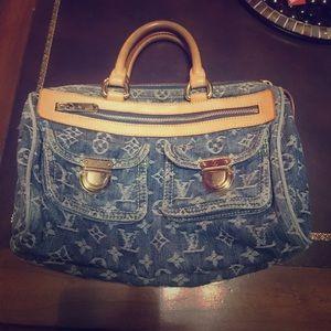 Louie Vuitton Blue Denim Sachel